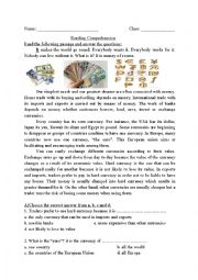 English Worksheet: Reading Comprehension- currency