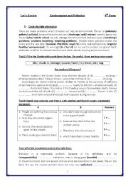 English Worksheet: revision for 9th form tunisian pupils (environment and pollution)