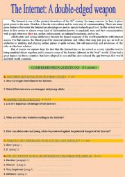 English Worksheet: Reading Comprehension: The Internet - A double-edged weapon ... Key included!