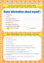 English Worksheet: Students� information sheet/ form _ A very useful speaking and ice-breaking activity for day 1