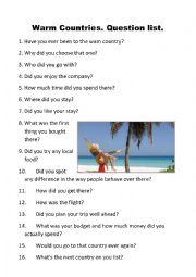 Warm countries. Question list.
