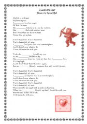 English Worksheet: �You are beuatiful� by James Blunt