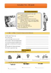 English Worksheet: English test-6th grade-Part 1