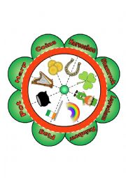 English Worksheet: St. Patrick�s Day Noun Flower Puzzle with 8 Images and Words
