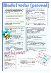 English worksheet: modal verbs (present)