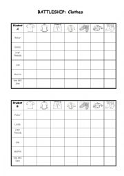 English Worksheet: battleship - Clothes
