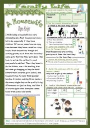 English Worksheet: Family Life (Mid Term1 Test 9th form): 2 Parts: Listening+Link+Language+Key