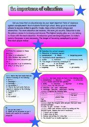 English Worksheet: the importance of education