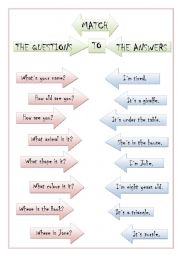English Worksheet: Question answer matching