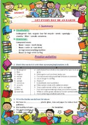 English Worksheet: LET EVERY DAY BE AN EARTH
