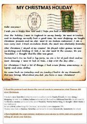 English Worksheet: My Christmas Holiday Postcard