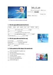 English Worksheet: LET IT GO - Song from Disney´s Movie FROZEN