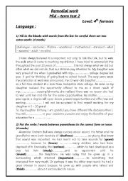 English Worksheet: remedial work for bac pupils (mid - term tes 2)