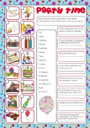 English Worksheet: Party Time (Reading & Matching)