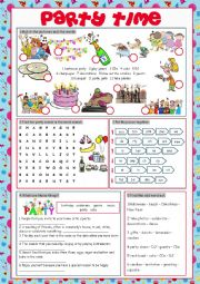 English Worksheet: Party Time (Vocabulary Exercises)