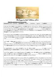 English worksheet: THE CHILDREN OF LIR - AN IRISH LEGEND