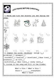 English worksheets Nightmare Before Christmas Listening Comprehension