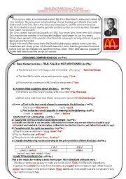 English Worksheet: Mc Donald�s restaurant