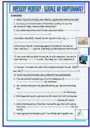 English Worksheet: present perfect simple or continuous :exercises
