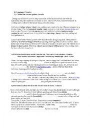 English Worksheet: 1st year mid-term test (1) language