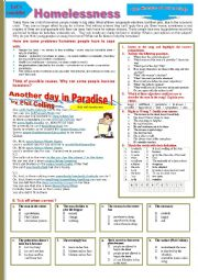 English Worksheet: Phil collins, HOMELESSNESS - Another day in paradise by Phil Collins. Multi-activity worksheet.