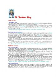 English Worksheet: The Bible Christmas story (reading test)