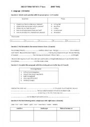 End of term test n°3 1st form (Second part)