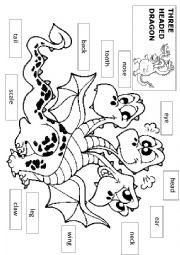 English Worksheet: THREE HEADED DRAGON - parts of body