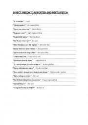 English Worksheet: Direct Speech to Indirect