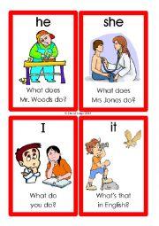 English Worksheet: Pronoun Flashcards: 1-12 of 70