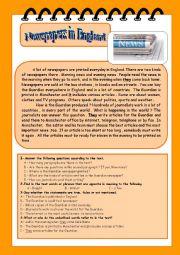 English Worksheet: British newspapers