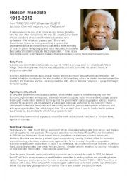 English Worksheet: Nelson Mandela : a biography