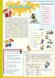 English Worksheet: A day with Steve� Activities for Childrens & Comprehension- Writing - Vocabulary and Grammar
