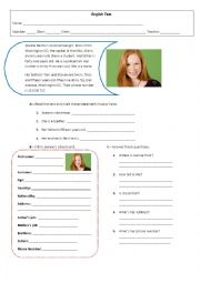 English Worksheet: 5th grade test