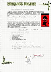 English Worksheet: Sherlock Holmes part 3 - The speckled Band