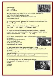 English Worksheet: Schindler�s list :part 2