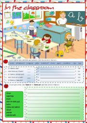 English Worksheet: In the classroom - There is / There are
