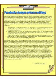 English Worksheet:                              a test on facebook