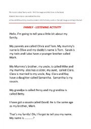 English Worksheet: Family Listening Activity
