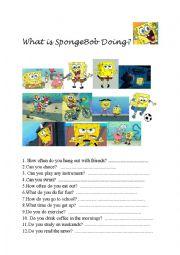 What is Sponge Bob doing?