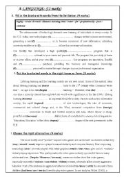 English Worksheet: mid-term test 2 for 4th formers