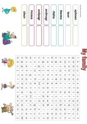 English Worksheet: My family crossword and unscramble