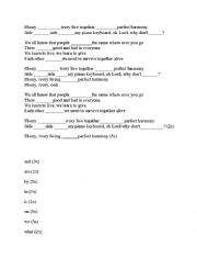 English Worksheet: Ebony and Ivory - a famous song for beginners