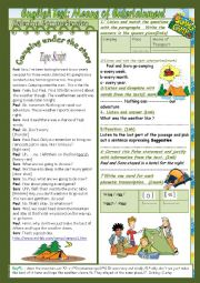 English worksheet: Means of Entertainment. (Mid Term Test 3 9th form) 2 Parts: Listening+Language+Key+Link.