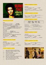 English Worksheet: BRUNO MARS �MOONSHINE�