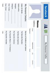English Worksheet: Facebook profile page