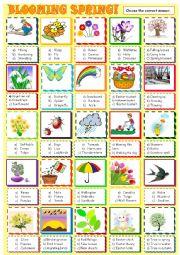 English Worksheet: Spring : multiple choice actiivty