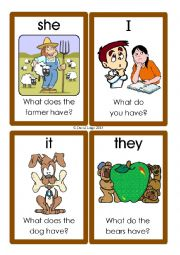 English Worksheet: Pronoun Flashcards: 37-48 of 70: with rules
