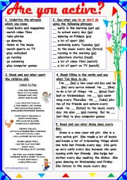 English Worksheet: Are You Active?