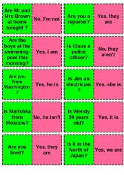 English Worksheet: yes/No Questions / BE  Domino